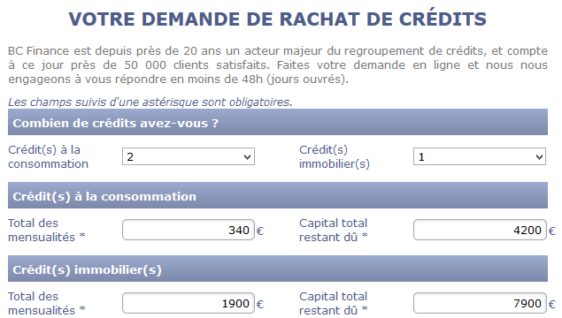 simulation rachat de credit BC Finance