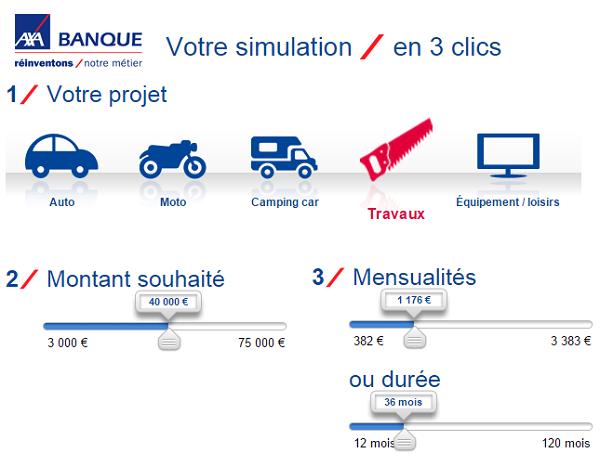 simulation rachat de crédit Axa Banque